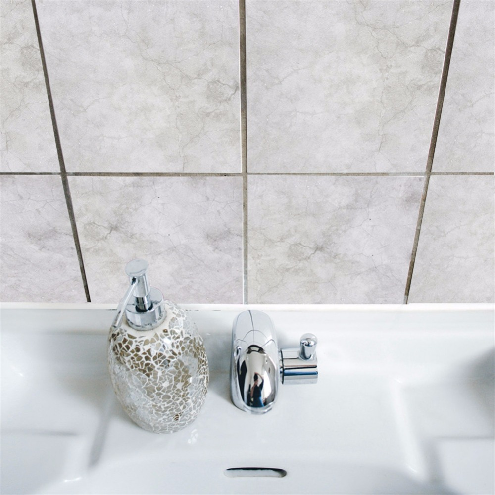 Yanqiao White Grunge Tiles Sticker for Kitchen Bathroom Peel and ...