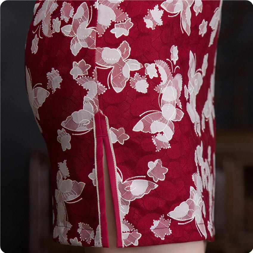 ABYABYGO Ladies Slim Mini Cheongsam Qipao Short Vintage Chi Pao Silk ...