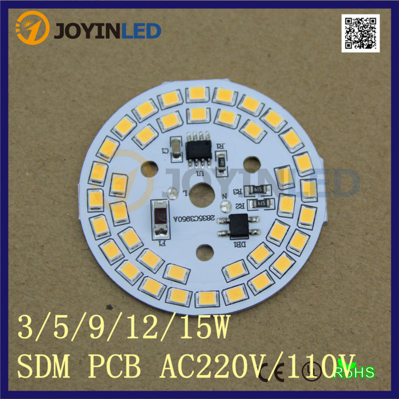 Free Shipping 5pcs 9W Light Source IC integrated Driver Led Pcb Module Assembly Bulb Lamp Ceililg Down Light