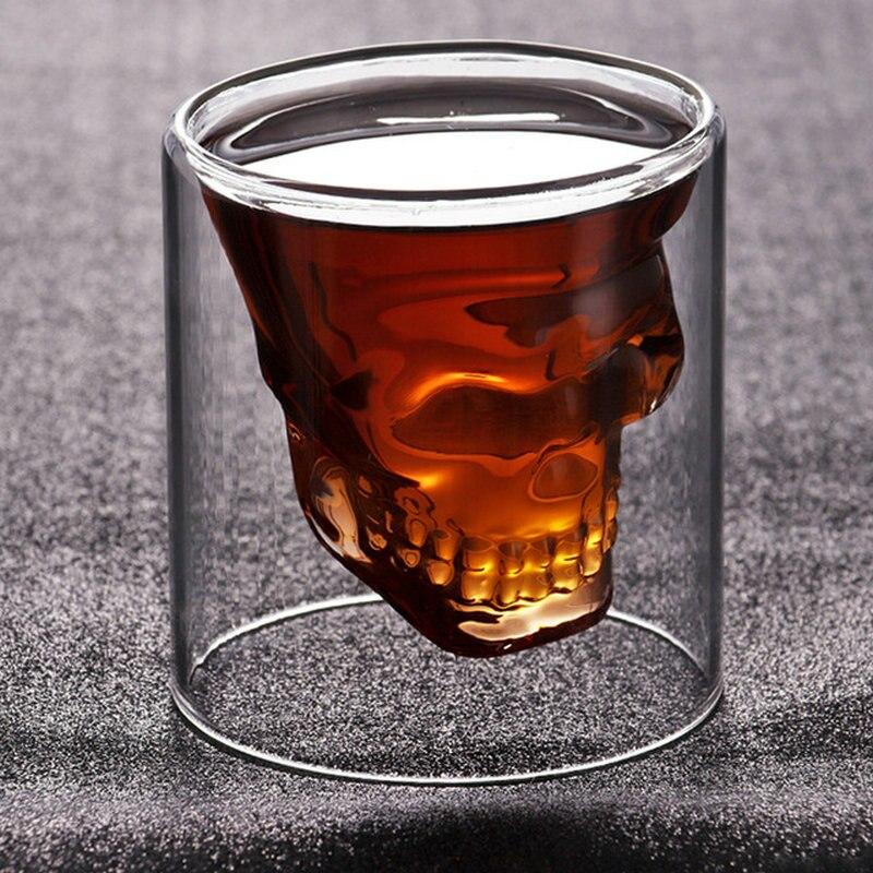 Двухслойная прозрачная Хрустальная стеклянная чайная чашка с черепом 3 размеров для виски, вина, водки, бара, пива, вина