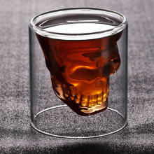 Double Layers Shot Transparent Crystal 3 Sizes Skull Head Glass Tea Cup For Whiskey Wine Vodka Bar Club beer wine glass(China)