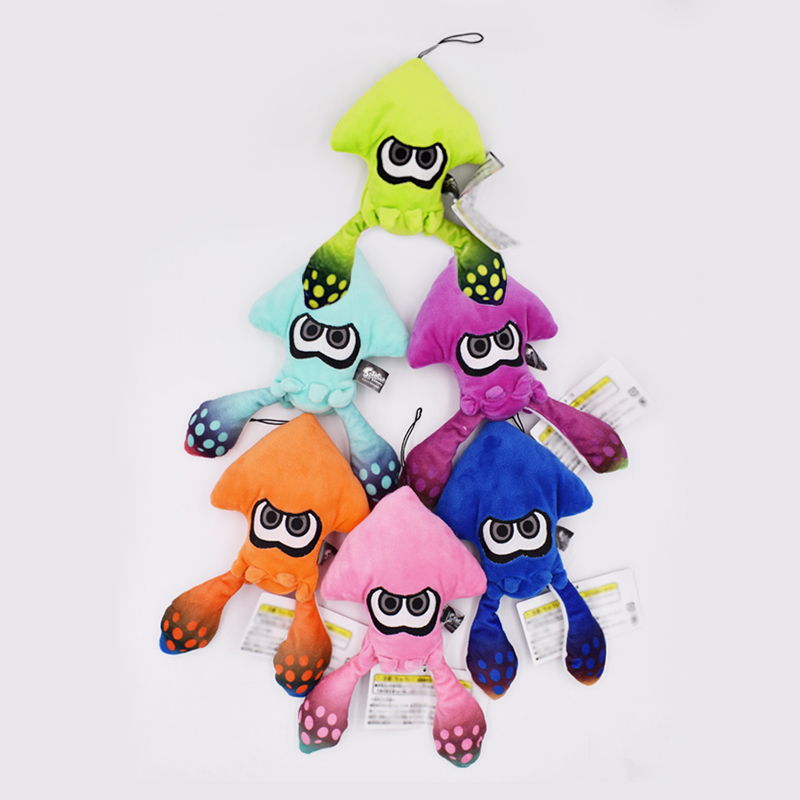 6Pcs/Set 25cm Splatoon Inkling Squid Plush Toys Doll Stuffed Lime Green Collectible Gift For Baby Kids Family Christmas Gifts 11 pieces splatoon 2 full set nfc card neon purple inkling squid boy and girl sisters callie and marie for switch ns