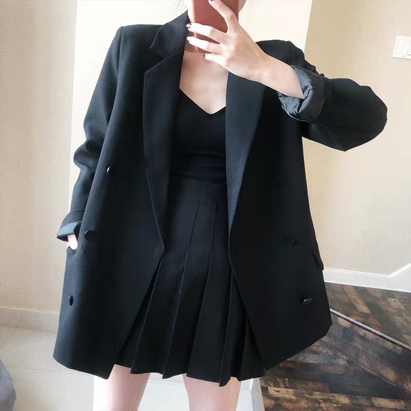 Fashion Women Skirt Suits One Button Notched Striped Blazer Jackets and Slim Mini Skirts Two Pieces
