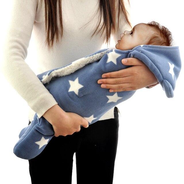 Новорожденный ребенок Спальные мешки Руно ткань пеленание одеяло печати плюшевые полиэстер 2 слоя одеяло пеленать зима теплая оптовая