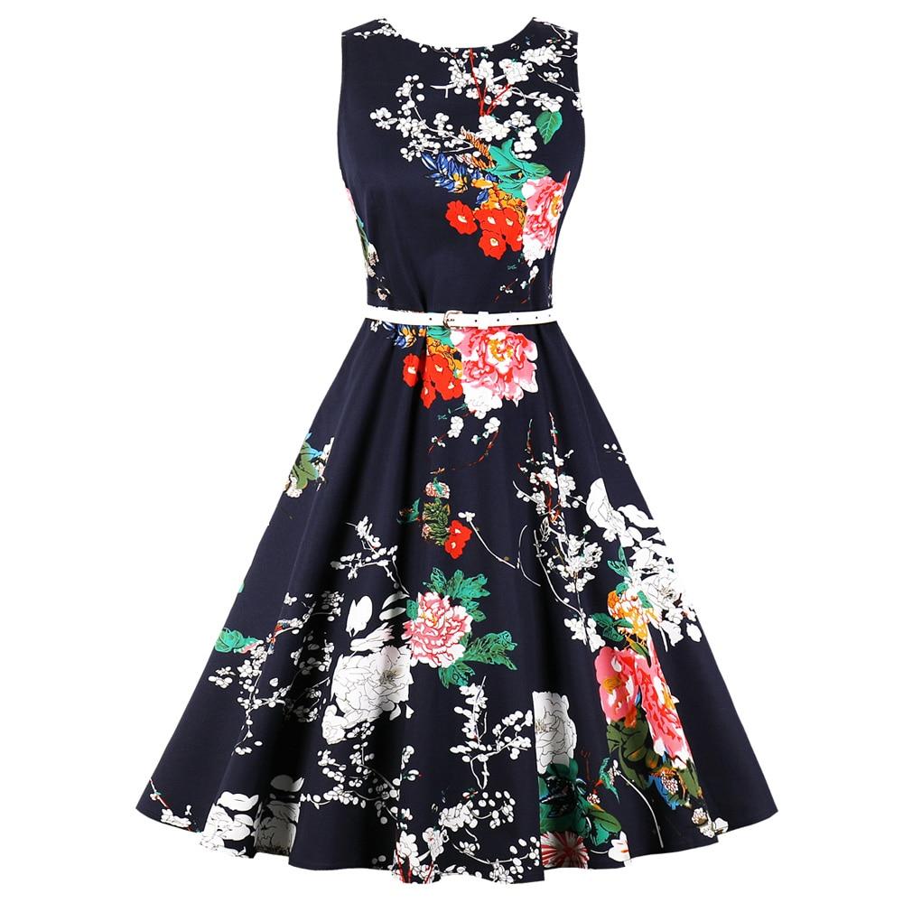 c8dc95ab7d Kenancy Plus Size Floral Print Summer Party Vintage Dress Round Neck  Sleeveless Belts Women Retro Dress