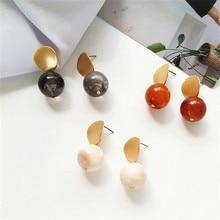 Tide beautiful simple geometric shape metal earrings personality Korea resin Jewelry earring party wear suitable for