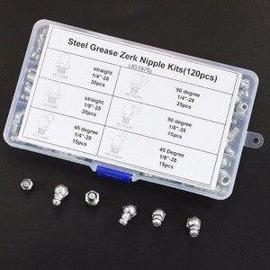 """Image 4 - 120pcs SAE Standaard 1/4 """" 28 1/8"""" 28 90 Graden en 45 Graden en Rechte Type hydraulische Grease Zerk Fitting"""