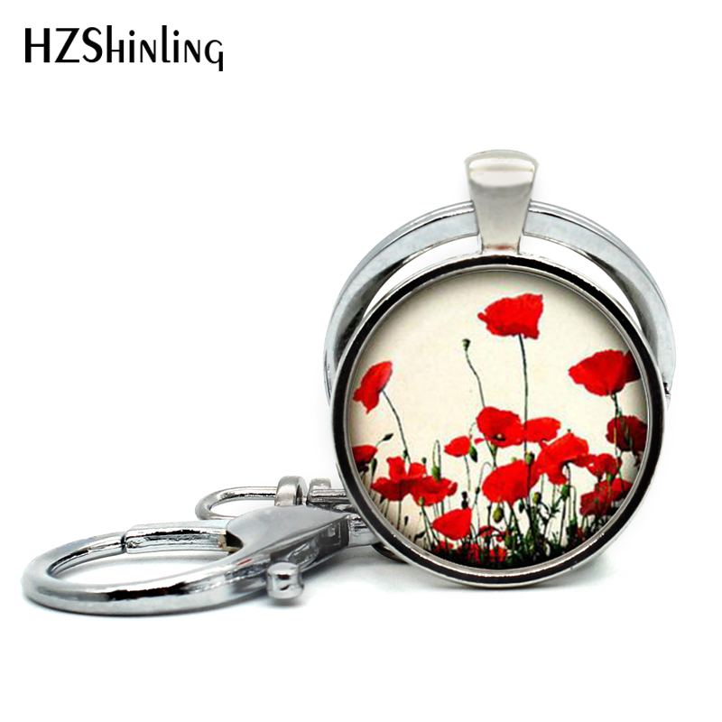 2017 New Trendy Poppy Keyring Red Poppy Flower Jewelry Nature Pendant Key Chains Glass Cabochon Key Ring Wholesale cross poppy flower brooch