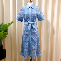 2019 spring and summer new lace dress embroidered lapel tshirt dress white and blue color single breasted waist dress female