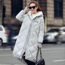 Зимой Женщины ватник Женщины Тонкий длинные Вниз хлопка Ватные Пальто Женщин Толстовки Парки Плюс Размер q19