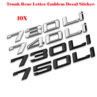 Wholesale Free Shipping 730i 740i 750i Chrome Number Trunk Rear Letter Emblem Decal Sticker For 7