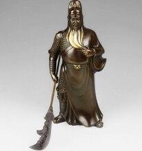 12 «Китай Чистая Красная Медь Будда Гуань Гун Гуань Юй Бог Держите Меч Дракона Статуя