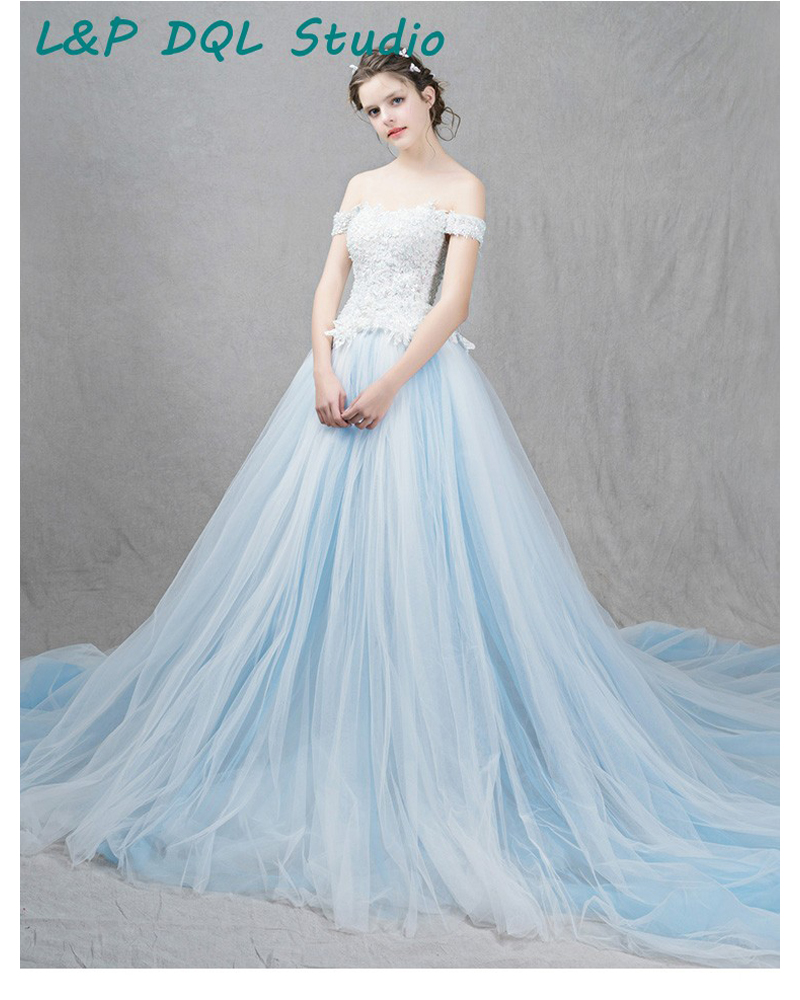 Stunning Ball Gown Wedding Dresses Court Train Strapless Light Sky Blue With Lace Top Up Back In From Weddings Events