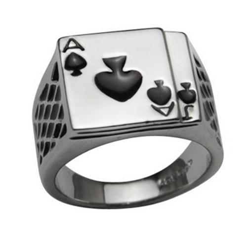 Men's White Black Enamel Spades Poker Ring Finger Jewelry