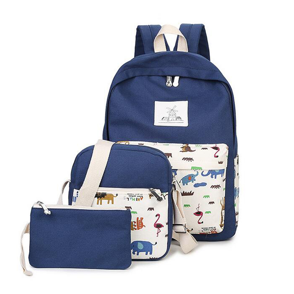 New casual women backpack canvas Korean school bags travel backpacks for teenage girls preppy style dots women bag set