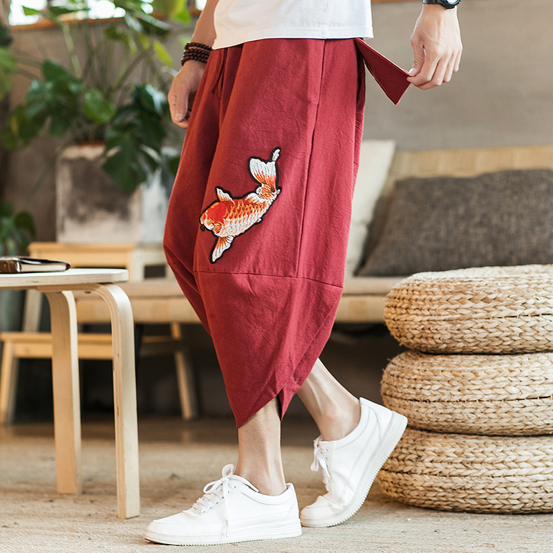 Brand loose cropped trousers Japanese and Korean style 2020 summer new fashion squid embroidery men's large size harem pants
