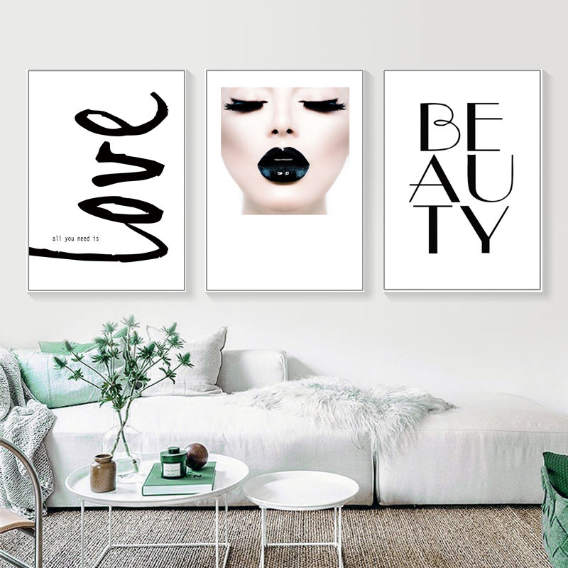 Love Beauty Wall Art Pictures For Girl Room Salon Wall Decor Stripe Lipstick Canvas Painting Fashion Beauty Poster Prints DH2612