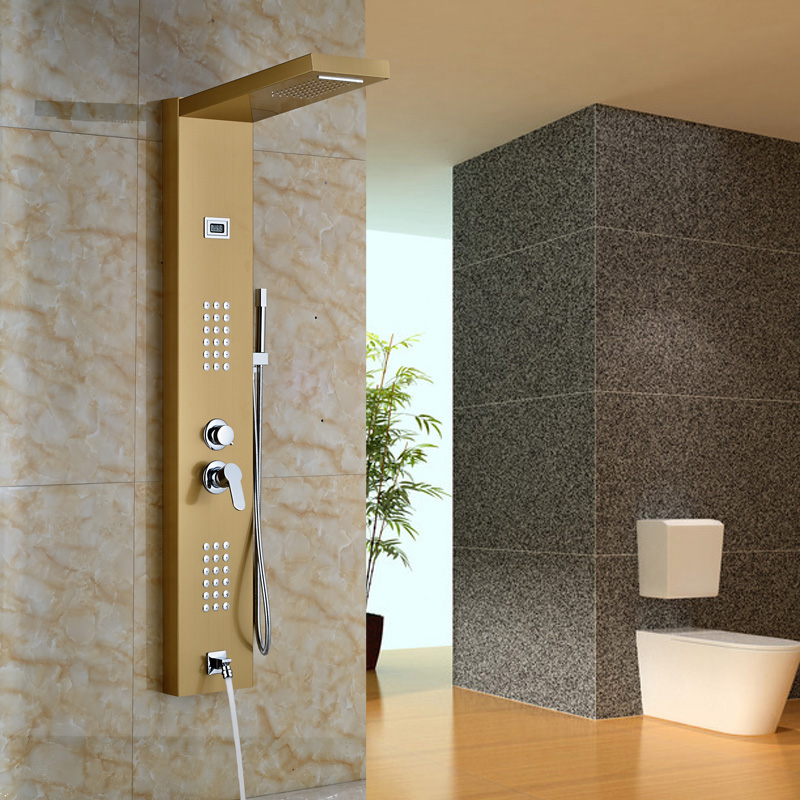 Gold plate Stainless Steel Rainfall Shower Panel 2 parts Massage ...