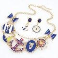 De Calidad superior Nueva Moda Marca Sistemas de la Joyería de esmalte de Anclaje Rhinestone collar Corto Collar Pendientes para mujeres Regalos Del Partido TZ1348