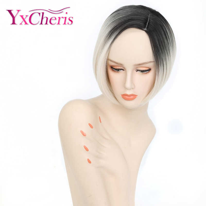 Short White Wigs For Women Ombre Colour Wigs Feamle Heat Resistant Fiber Synthetic Hair Wigs Cosplay YxCheris