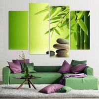 HD Printed Modern Canvas Painting Wall 4 Panel Zen Stones Bamboo Water Art Modular Poster Frame