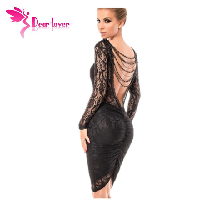 Dear-Lover Black Lace Dresses Vestido de renda Winter Elegant Robe Sexy Delicate Chained Long Sleeve Backless Midi Dress LC6755