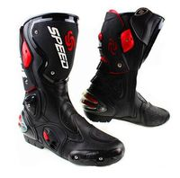 Motorcycle Boots Speed Bikers Moto Racing Motocross Motorbike Shoes Off road BOOts Black/White/Red Size 40/41/42/43/44/45