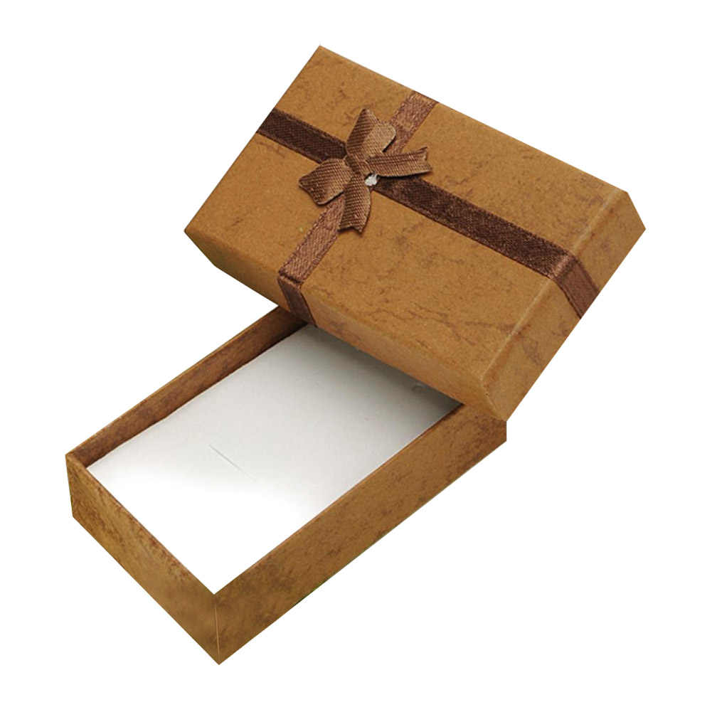 Cheap 8*5*2.5cm jewelry earring bracelet ring gift box brown square carton bow case package ES4561
