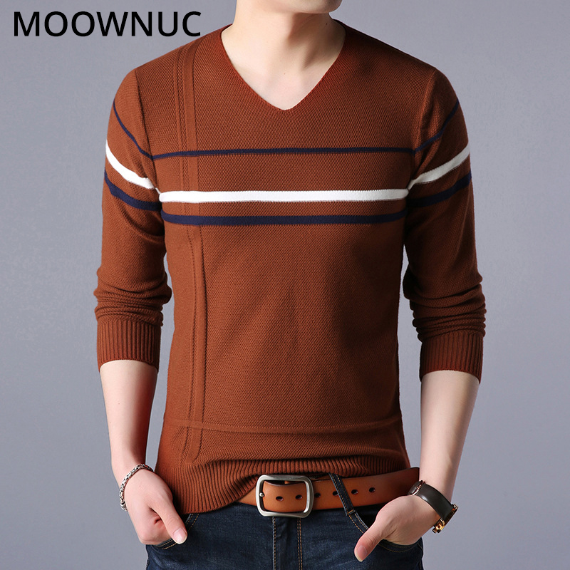 Fashion Sweaters Winter Men Pullover Smart Casual Autumn Homme Slim Keep Warm Male Sweaters Bottoming Shirt V-Neck MOOWNUC MWC