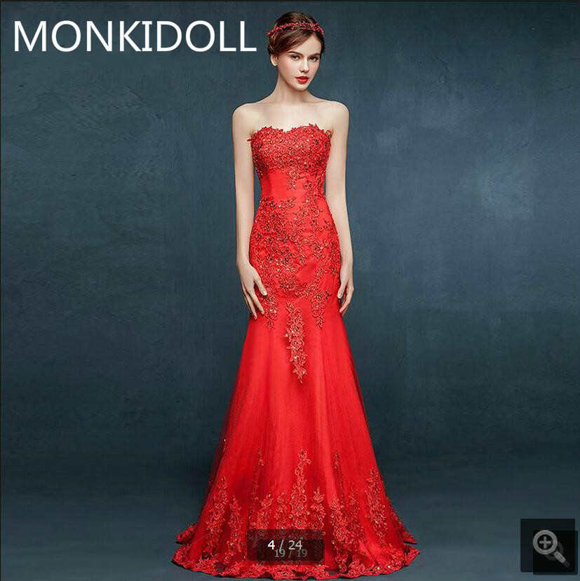Free Shipping 2017 Cheap Mermaid Red Tulle Lace Appliques Wedding Dress Strapless Sweetheart Neck Beaded Crystals Wedding Gowns