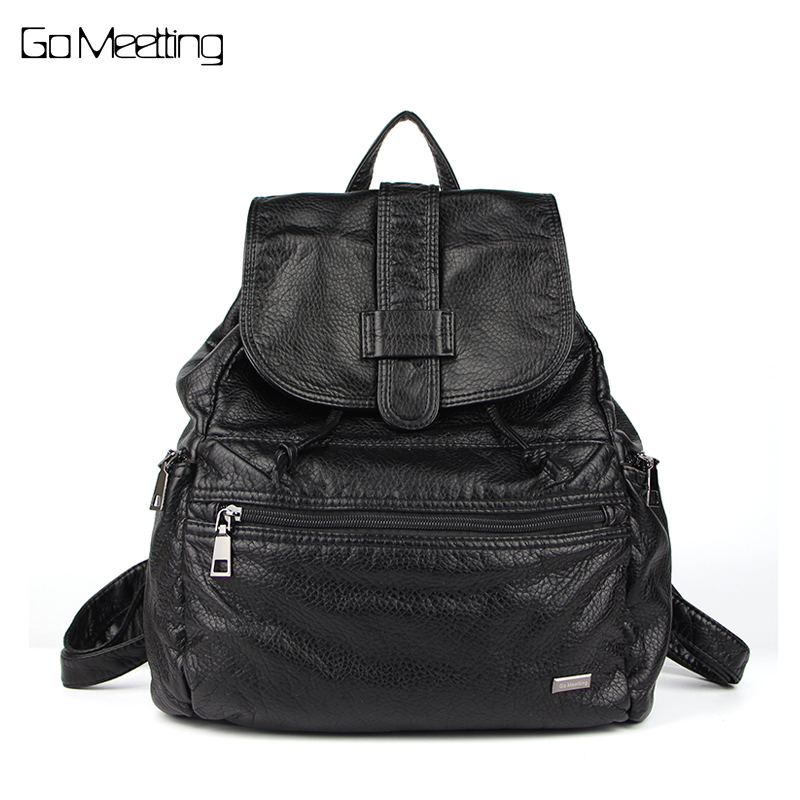 Go Meetting Brand Fashion Women Backpacks Soft Washed Leather Schoolbags For Girls Female Leisure Bag mochilas