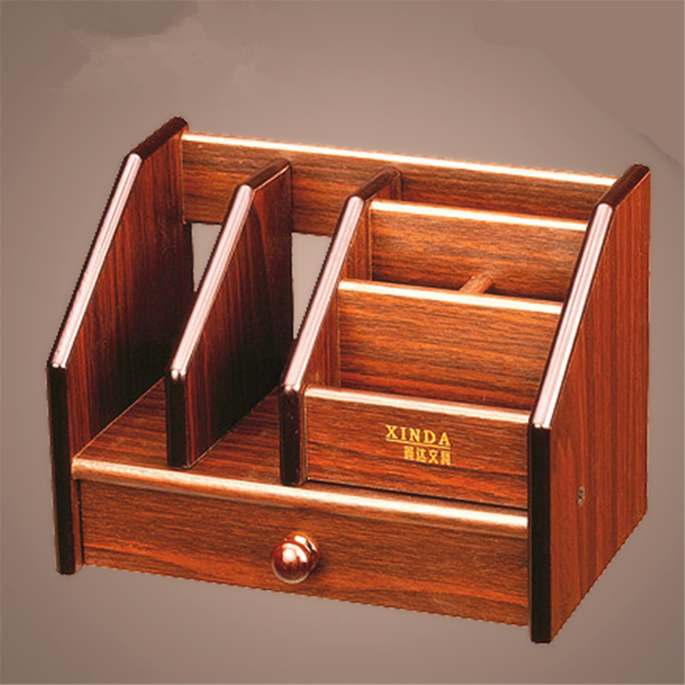 High Quality Wood Square Fantastic Pen Holders with Drawer Multi-function Storage Box Office School Decoration bobo bird brand new sun glasses men square wood oversized zebra wood sunglasses women with wooden box oculos 2017