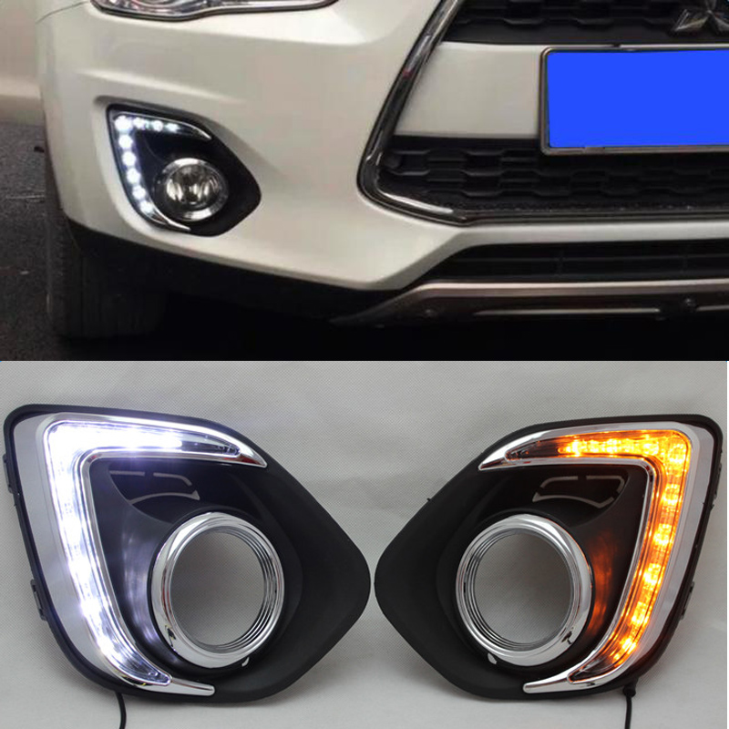 12V NEW Daytime Running Lights Dimming Style Relay Waterproof LED Car Light DRL With Fog Lamp Hole For Mitsubishi ASX 2013-2014 turn off and dimming style relay led car drl daytime running lights for ford kuga 2012 2013 2014 2015 with fog lamp