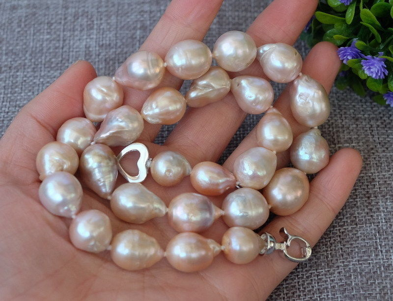 10x10 jewerly freeshipping Natural Pink Nucleated Flameball pearl necklace
