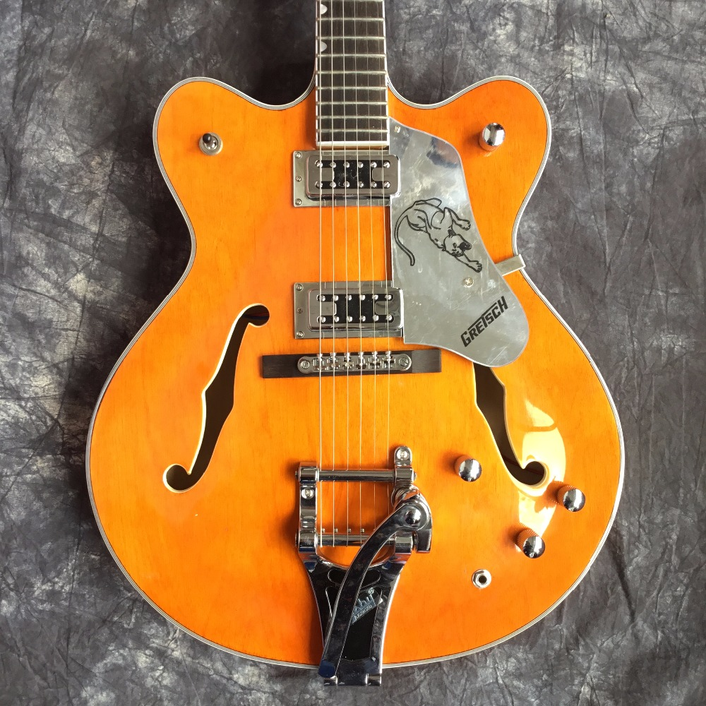 High quality Custom shop orange electric guitar, Semi hollow body. ES 335 JAZZ Guitars, hollow electric guitar free shipping rotten knobs tree wood archtop guitar hollow body 335 jazz electric guitar