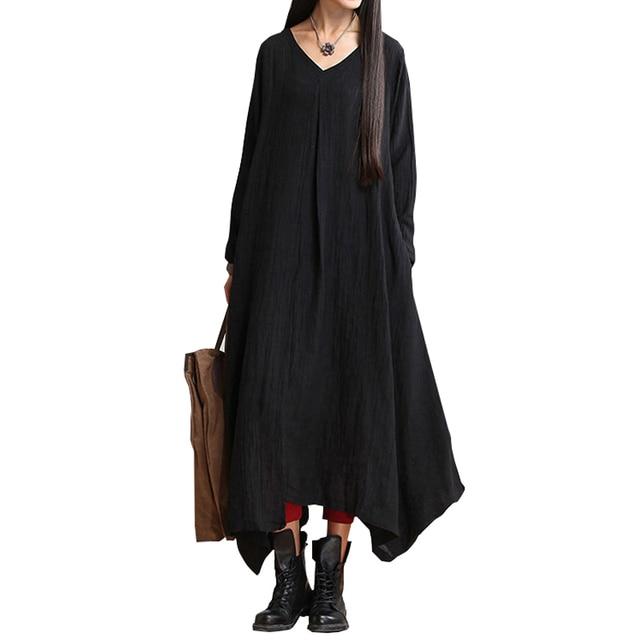Johnature 2021 Autumn New Women Black Color Casual Dress Robe Long Sleeve V Neck Loose Brief Loose Irregular Long Dress 1