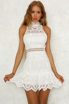 New Vintage hollow out lace dress women Elegant sleeveless white dress summer chic party sexy dress vestidos robe L312 semi formal summer dresses