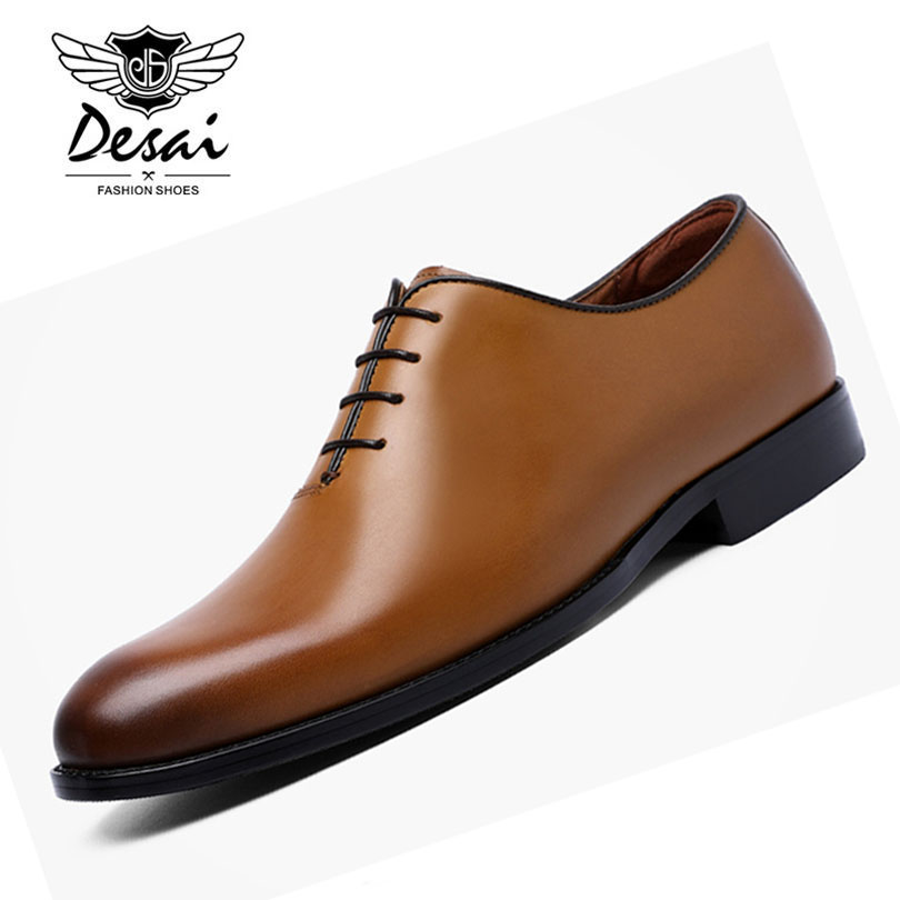 DESAI 2018 New Men Business Formal Dress <font><b>Shoes</b></font> With Comfortable Cow Leather <font><b>Shoes</b></font> Classic Retro British Style <font><b>Shoes</b></font> for Men