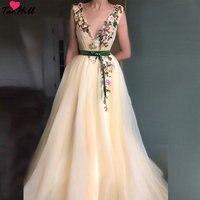 TaoHill сексуальное длинное бархатное платье с глубоким v образным вырезом на талии с цветочной аппликацией цвета шампанского для вечерние для