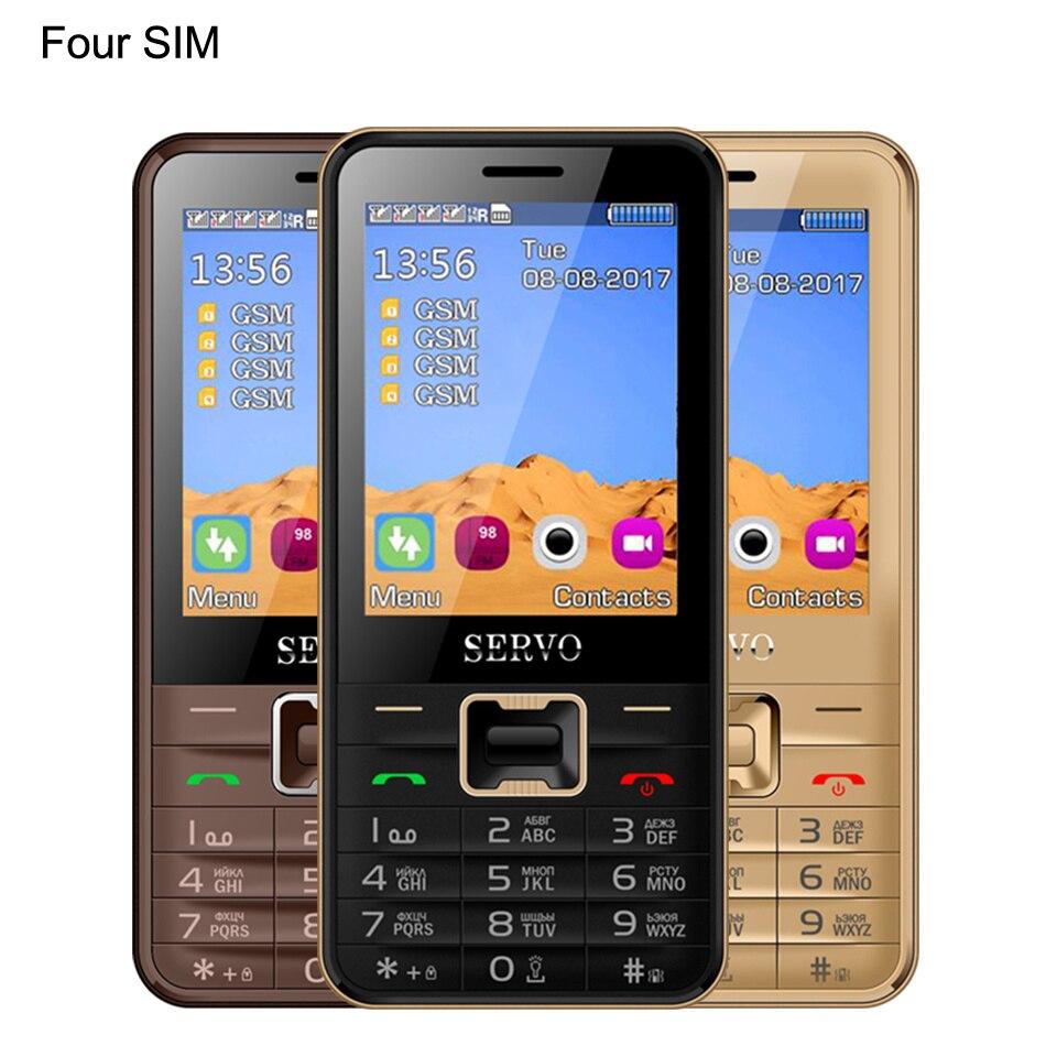 D'origine Téléphone V8100 2.8 pouce 4 Quatre cartes SIM 4 veille téléphone portable Bluetooth lampe de Poche FM GPRS Russe clavier Mobile téléphones