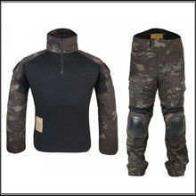 AirsoftSports Gen2 Combat Uniform Shirt&pants With Knee Elbow Pads Tactical Gear Military Camouflage Mcbk Multicam Black Em6971