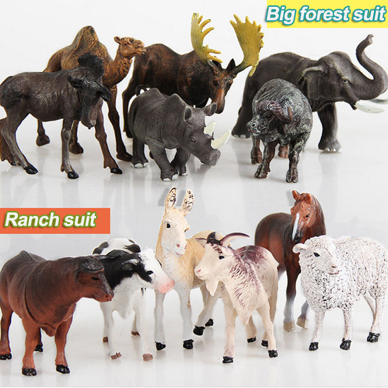 Simulation of wild animal toys static models forest farms cattle and sheep plastic toys kindergarten toys for education current fertility status in cattle of mini dairy farms