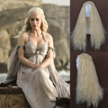 Daenerys Targaryen Wig Dragon Princess Game Of Thrones Braiding Long Curly Wave Hair Light Blonde Cosplay Wig Free Shipping