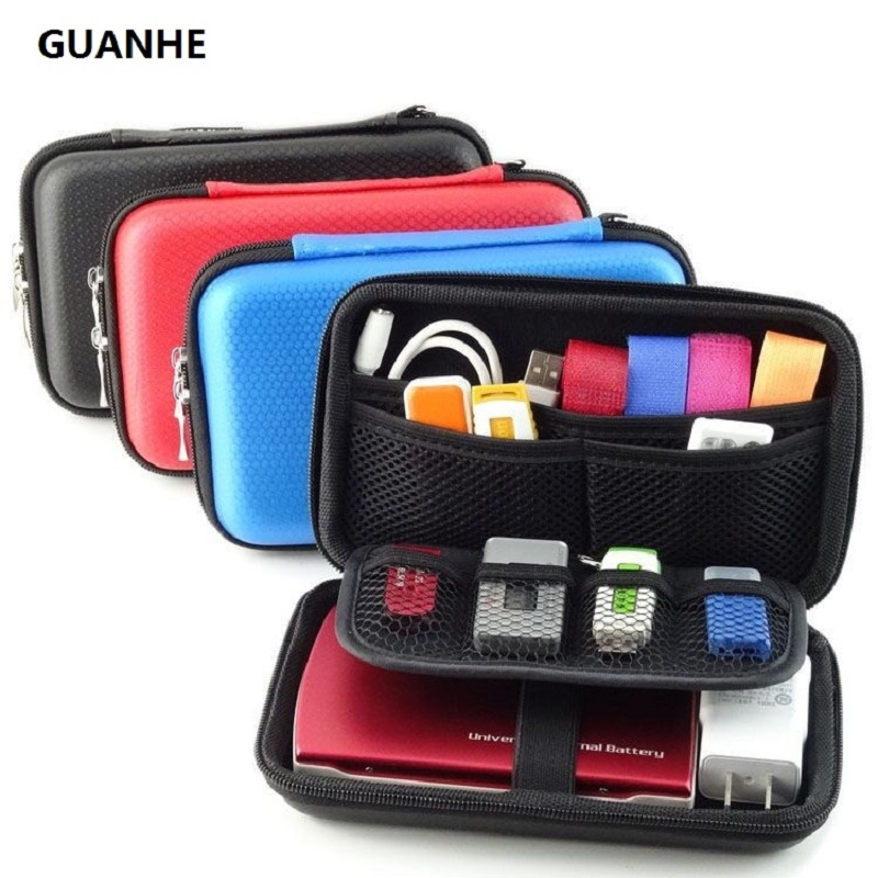 GUANHE 2.5 inch  3 Colors Large Cable Organizer Bag Carry Case HDD  USB Flash Drive Memory Card Phone Power Bank 3DS