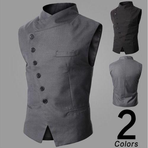 Casual Business Dress Vest Men Slim Fit Formal Suit Waistcoat Tops Jacket Vest