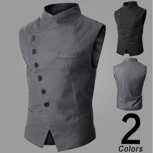 Casual vestido de colete homens Slim Fit paletó colete Tops jaqueta colete