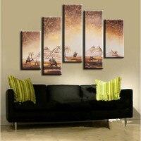 5 panel Wall art imágenes Egipto pirámides y camellos paisaje Pintura sobre tela arte pintado a mano paisaje abstracto pinturas Sets