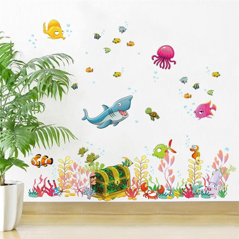 ^ Colorful Sea World Fish Cartoon For Kids Room Home Decal Mural Art Wall  Stickers Baby Nursery Bathroom DIY Decoration Sticker In Wall Stickers From  Home ... Part 87