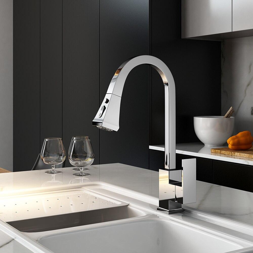 Robinets de cuisine argent poignée unique retirer le robinet de cuisine poignée monotrou pivotant 360 degrés mélangeur d'eau robinet mitigeur 866399R - 3
