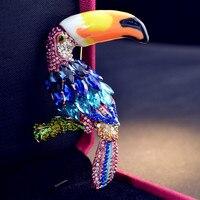 אמייל יהלומים מלאכותיים אופנה תכשיטי קריסטל סיכת סיכות וסיכות לנשים תוכי מקדד